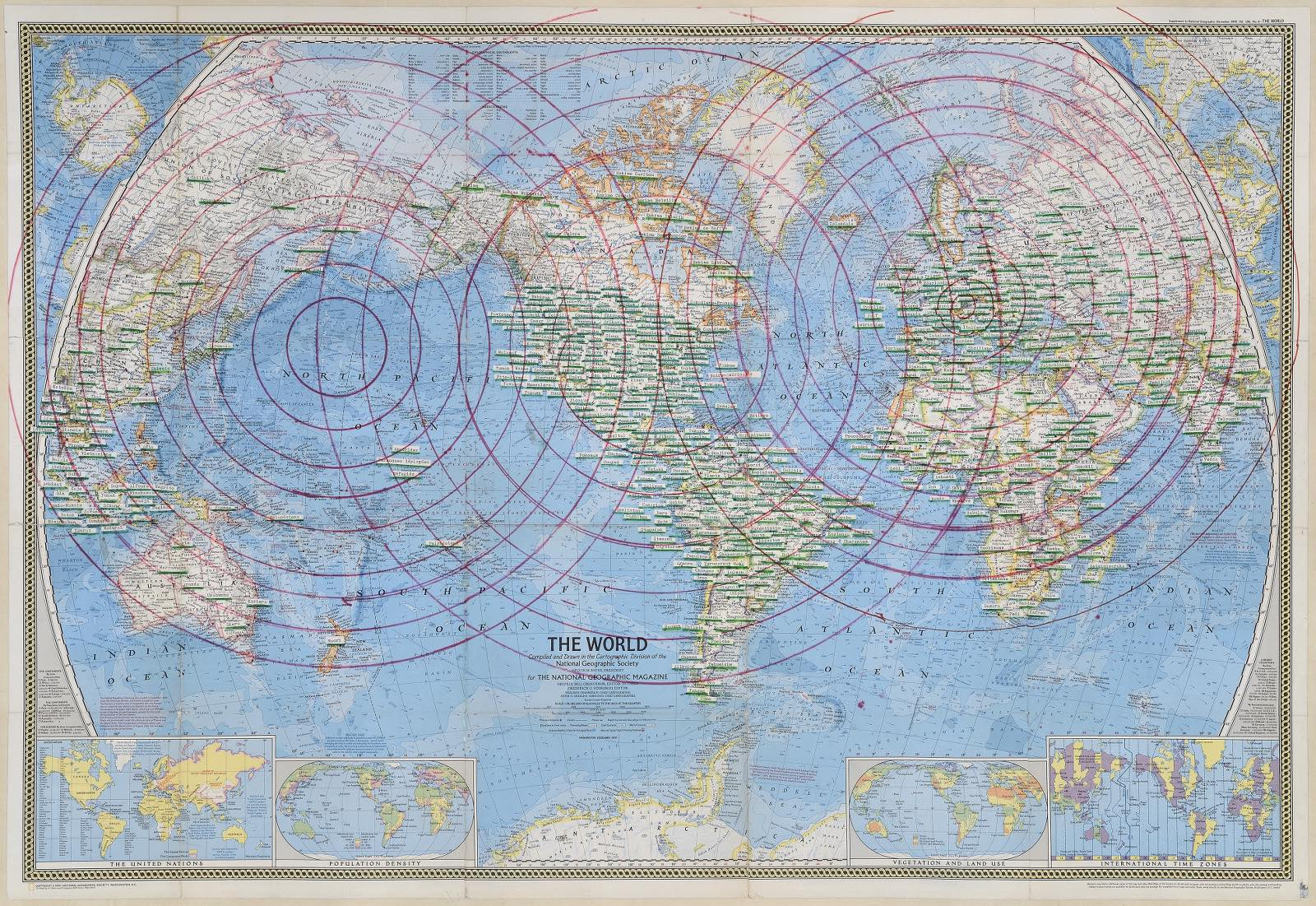 Bernard Heidsieck, Vaduz, feutre et collage de bandes de tapuscrits sur papier imprimé, 74 x 108 cm., 1974, collection M.N.A.M., Paris.