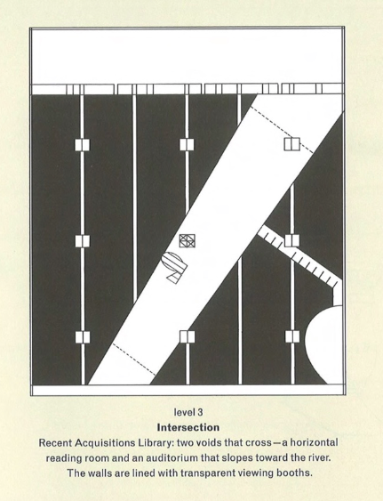 Rem Koolhaas, Très Grande Bibliothèque, plan du 3e étage, in R. Koolhaas et B. Mau, S, M, L, XL, The Monacelli Press, 1997, p. 621.